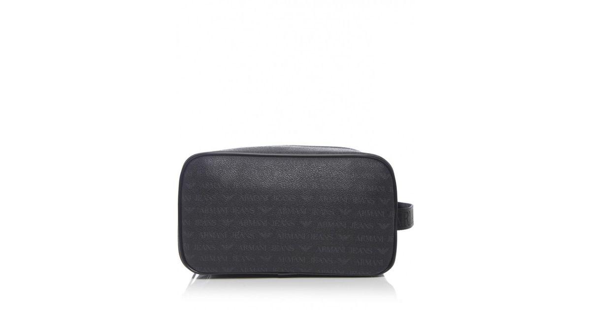 478592a220d6 Armani Jeans Logo Wash Bag in Black for Men - Lyst