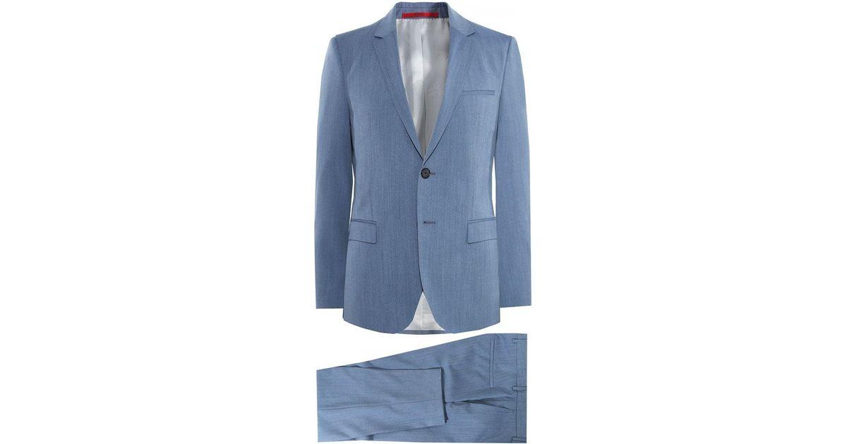 aa4aa8e2 HUGO Extra Slim Fit Virgin Wool Arti/hesten 182 Suit in Blue for Men - Lyst