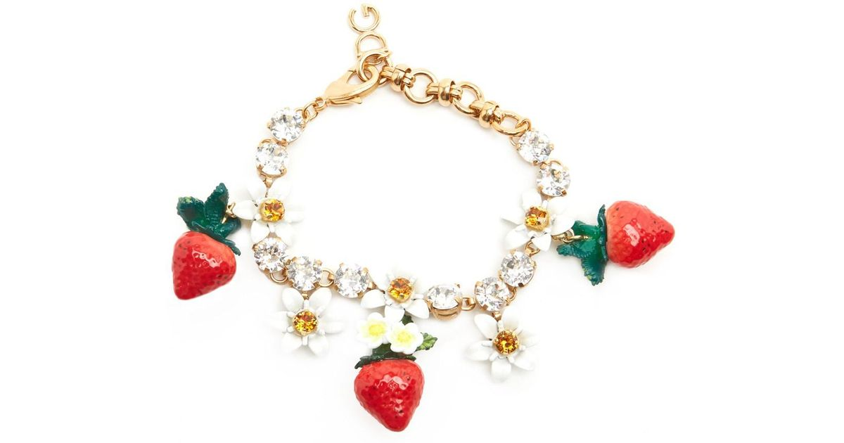 Dolce Gabbana Metallic Strawberries Bracelet