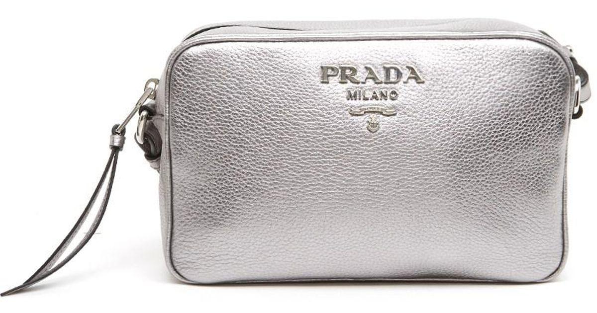 42b27b9f342e81 Lyst - Prada Logo Crossbody Bag in Metallic