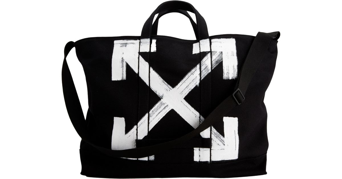 bf7ed12b75d2 Lyst - Off-White c o Virgil Abloh White Brushed Black Tote Bag in Black