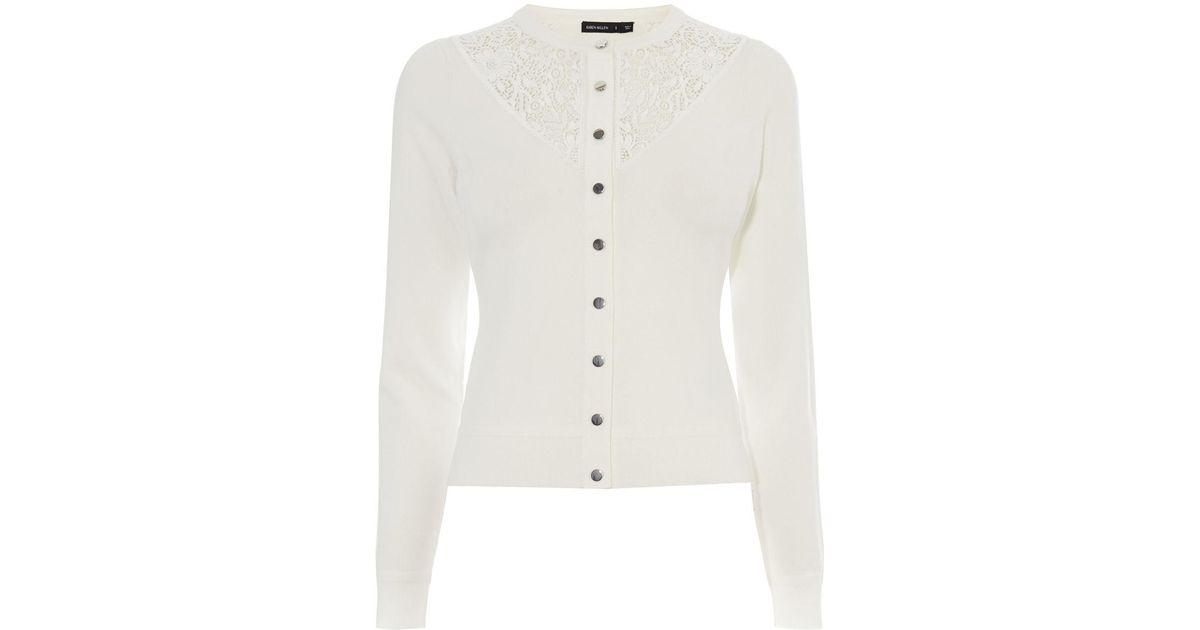 e3add6c13de Lyst - Karen Millen Lace Yoke Cardigan - Ivory in White