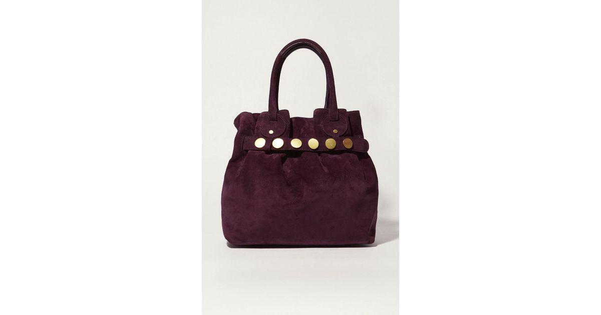 eb65fe51ae Lyst - Karen Millen Suede Studded Slouch Bag - Aubergine in Purple