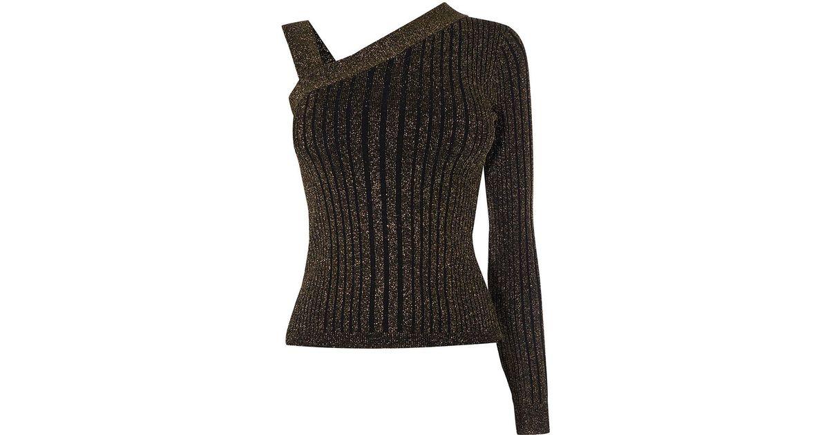 f384161323c95 Lyst - Karen Millen Knitted One-shoulder Top - Gold in Metallic