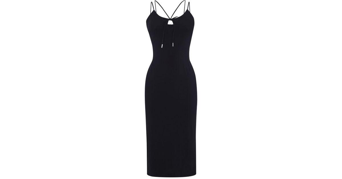 Lyst Karen Millen Strappy Pencil Dress Black In Black