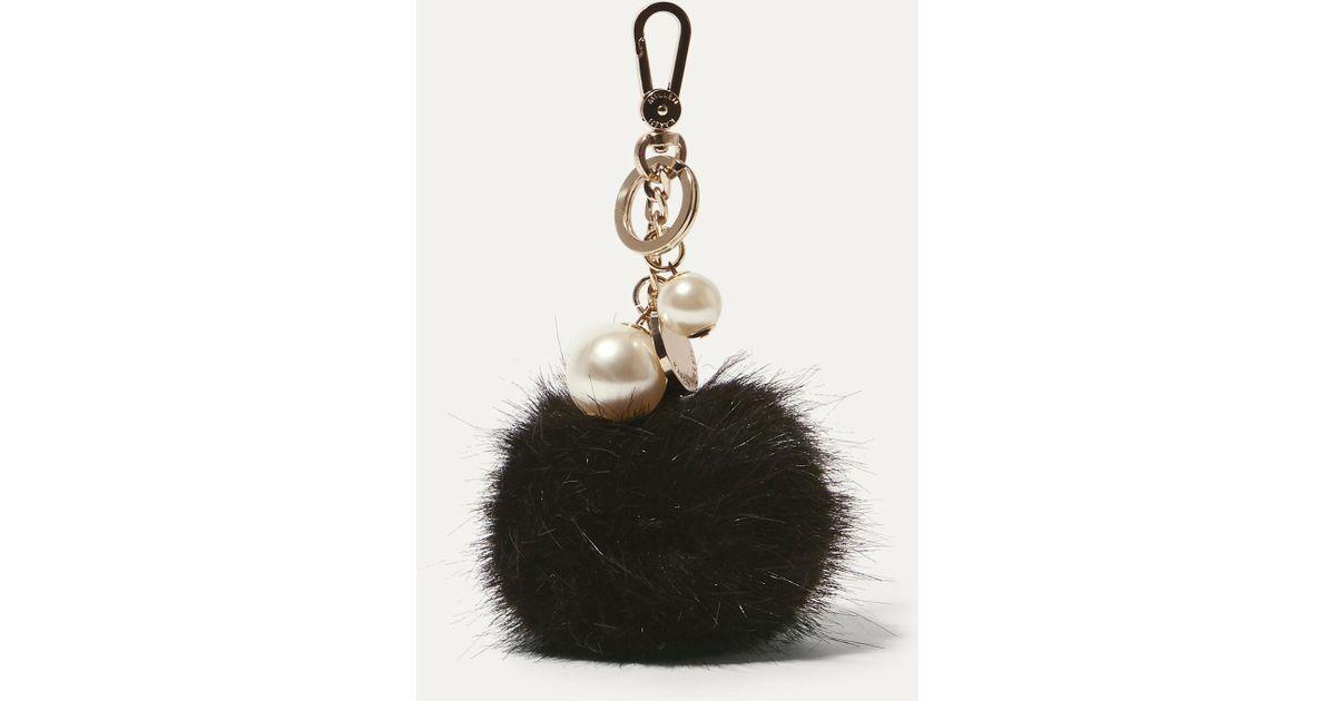 e617f4142c Karen Millen Faux Fur Keyring in Black - Lyst