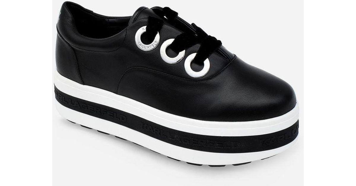 lyst - karl lagerfeld plateau leather sneaker in black