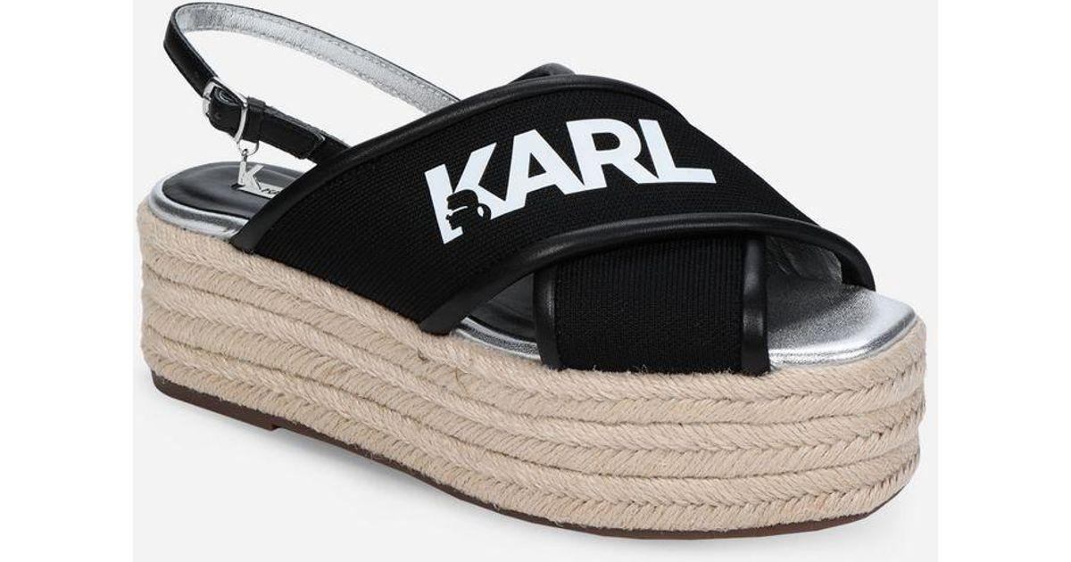 f3743777fab Karl Lagerfeld Karl X-strap Platform Espadrilles in Black - Lyst
