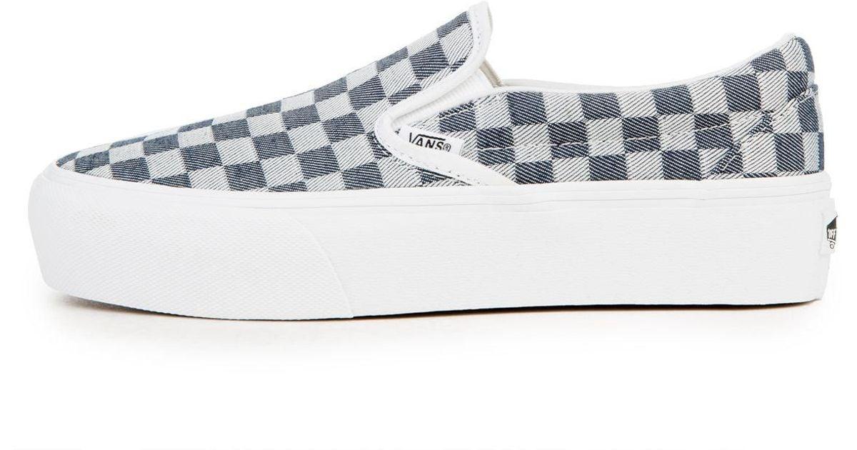 76b64dc9e65bf3 Lyst - Vans The Women s Slip-on Platform In Checkerboard Denim in Blue