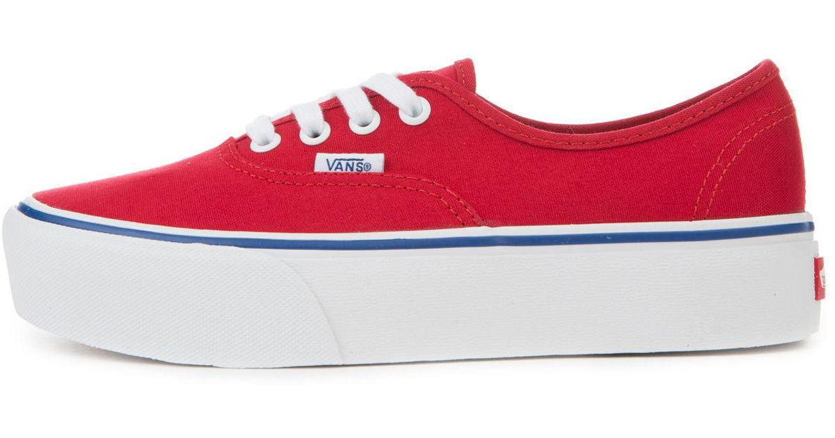 Lyst - Vans The Women s Authentic Platform 2.0 In Racing Red And True White  in Red 339947b136