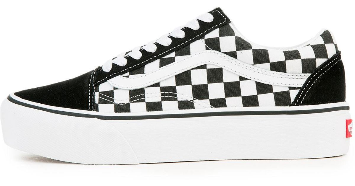 Lyst - Vans The Women s Old Skool Platform In Checkerboard Black And True  White in Black b1a3651788
