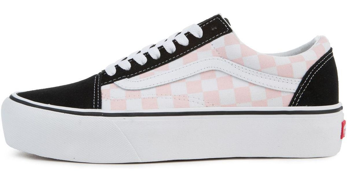 Lyst - Vans The Women s Old Skool Platform In Checkerboard Black And Pink  Dogwood in Black 85fce13bf