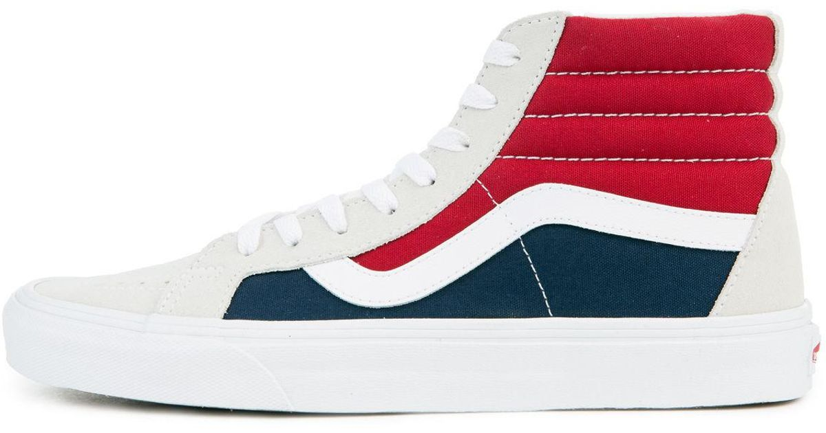 cc49c1c4d4 Lyst - Vans The Men s Sk8-hi Reissue Retro Block In White  Red And Dress  Blues for Men