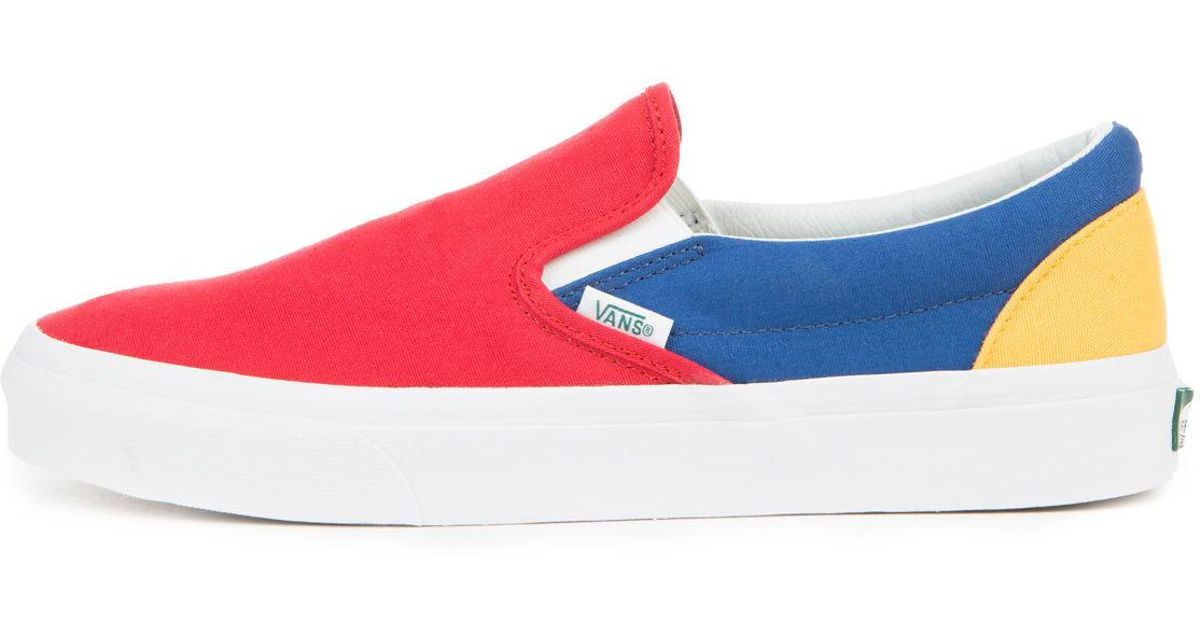 Lyst - Vans The Men s Classic Slip-on In Yacht Club Red  Blue And Yellow  for Men 77a47e84a