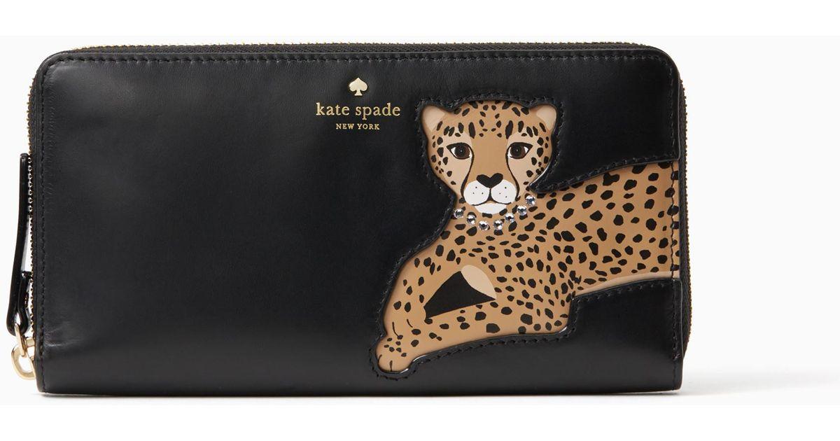 Kate spade run wild leopard applique lacey in black lyst