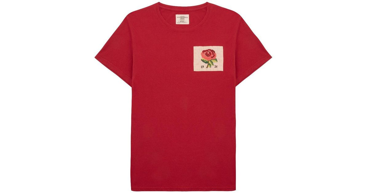 Kent curwen rose embroidered t shirt in red for men