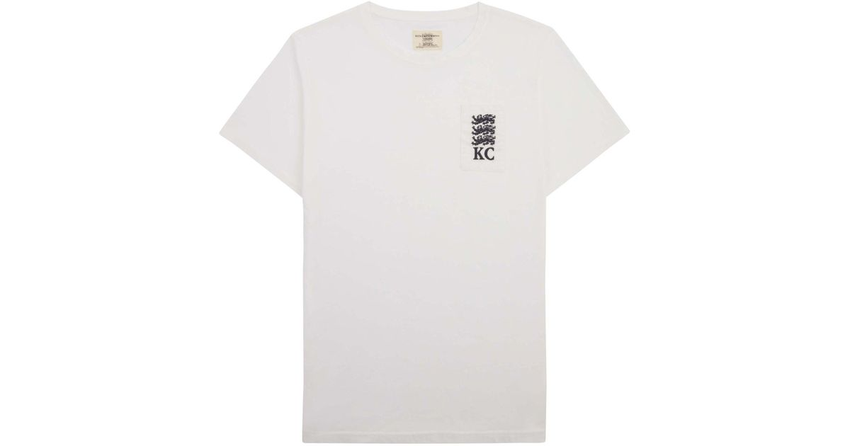Kent curwen three lions embroidered t shirt in white for