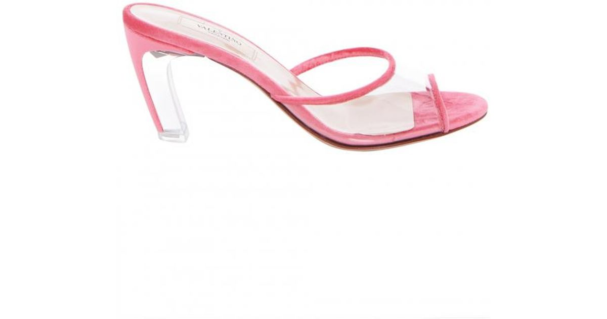 360410a568b Lyst - Valentino Pink Velvet Lucite Heel Open Toe Mule in Pink