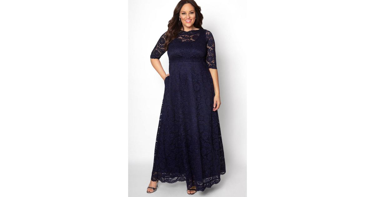 5dd043f896 Lyst - Kiyonna Leona Glitter Lace Gown in Blue - Save 30%