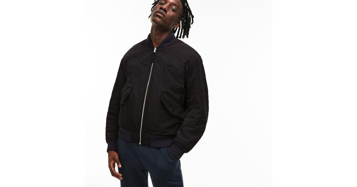 99eb57d77d Lacoste Unisex Live Reversible Nylon And Fleece Bomber Jacket in Black for  Men - Save 40% - Lyst
