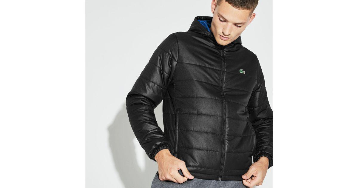 e00ba41a9 Lyst - Lacoste Sport Hooded Water-resistant Taffeta Tennis Jacket in Black  for Men