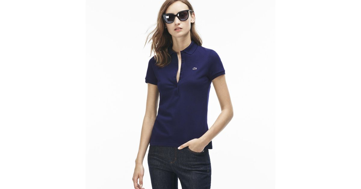 fce28174a6cab Lyst - Lacoste The Feminine Polo In Stretch Cotton in Blue