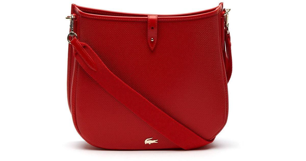 Lyst - Lacoste Chantaco Piqué Leather Hobo Bag in Red 4d023400f86b8