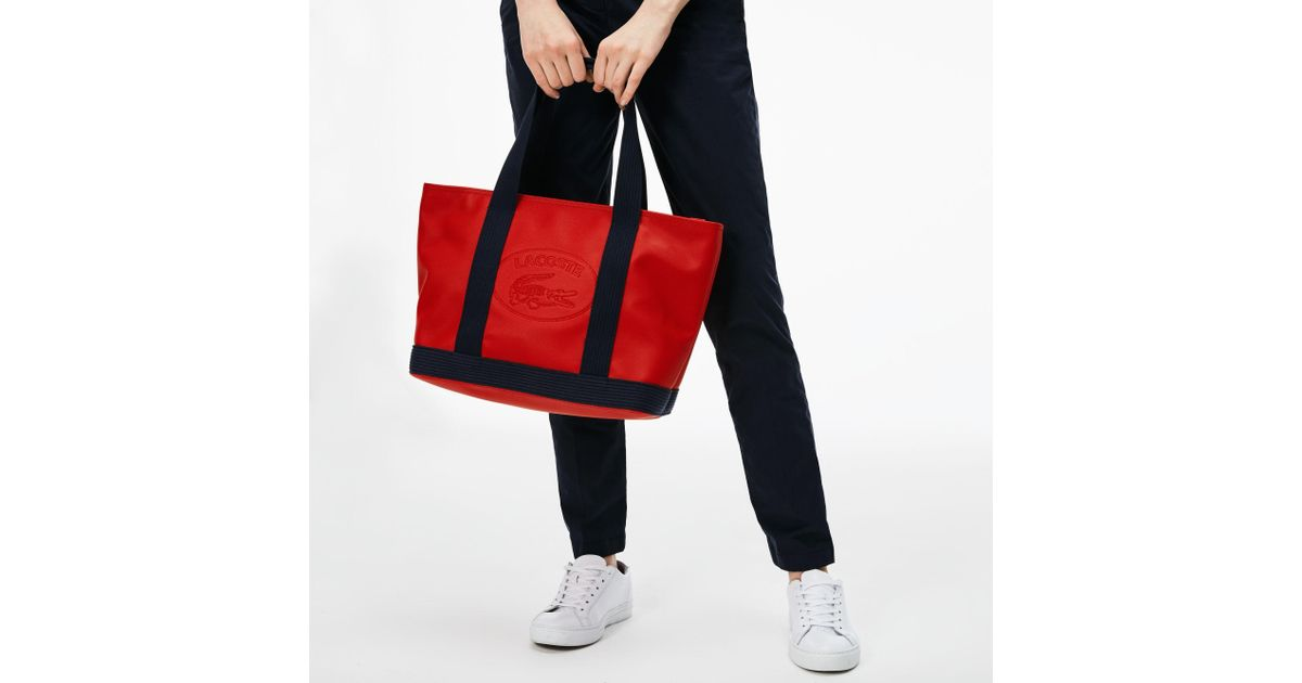 3e37f95a0eb Lacoste Classic Coated Piqué Canvas Zip Tote Bag in Red - Lyst