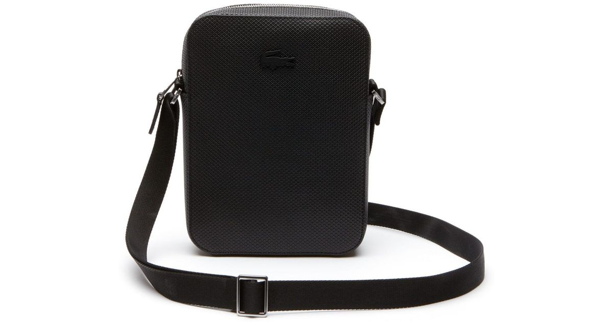 d760a2985 Lyst - Lacoste Chantaco Vertical Matte Piqué Leather Bag in Black for Men