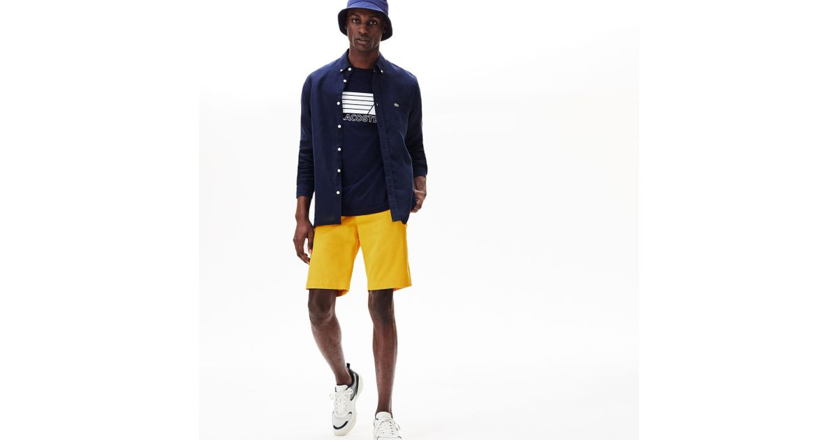 ea6c759c29 Lyst - Lacoste Slim Fit Stretch Gabardine Shorts in Yellow for Men