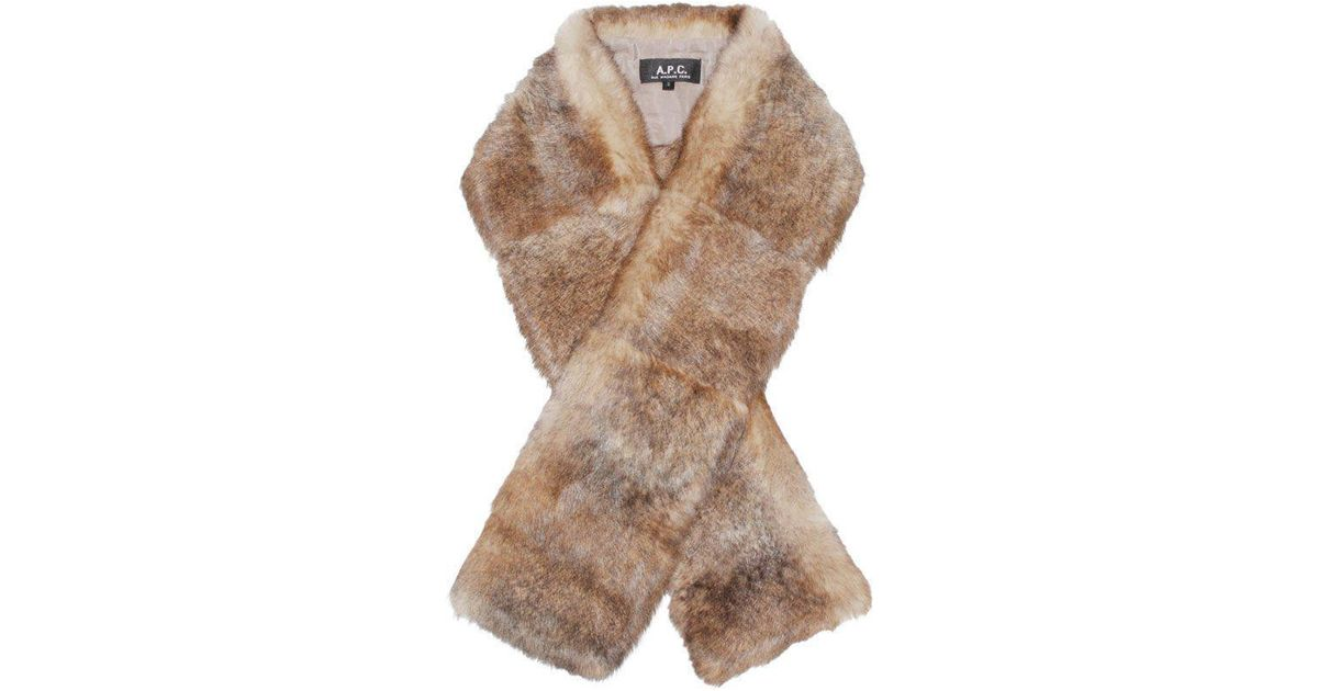 0837f48628b Lyst - A.P.C. Rabbit Fur Scarf in Natural