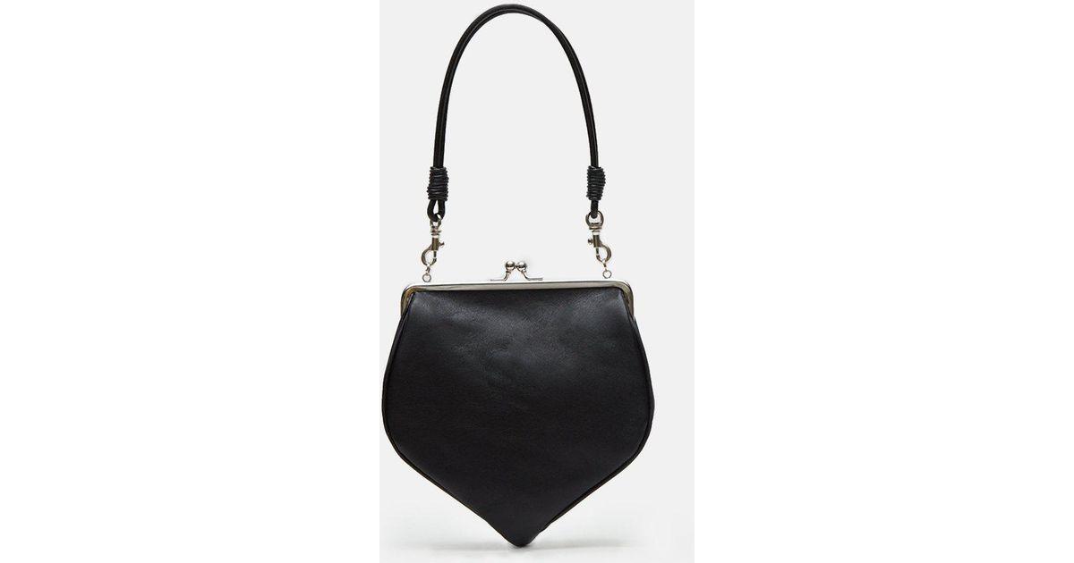 0084e477da Lyst - Y s Yohji Yamamoto Kip Leather Folding Clasp Bag in Black