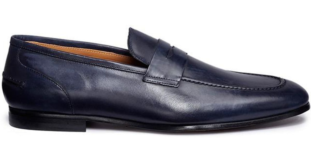 a9223b89c3e Lyst - Rolando Sturlini Vintage Effect Leather Penny Loafers in Blue for Men