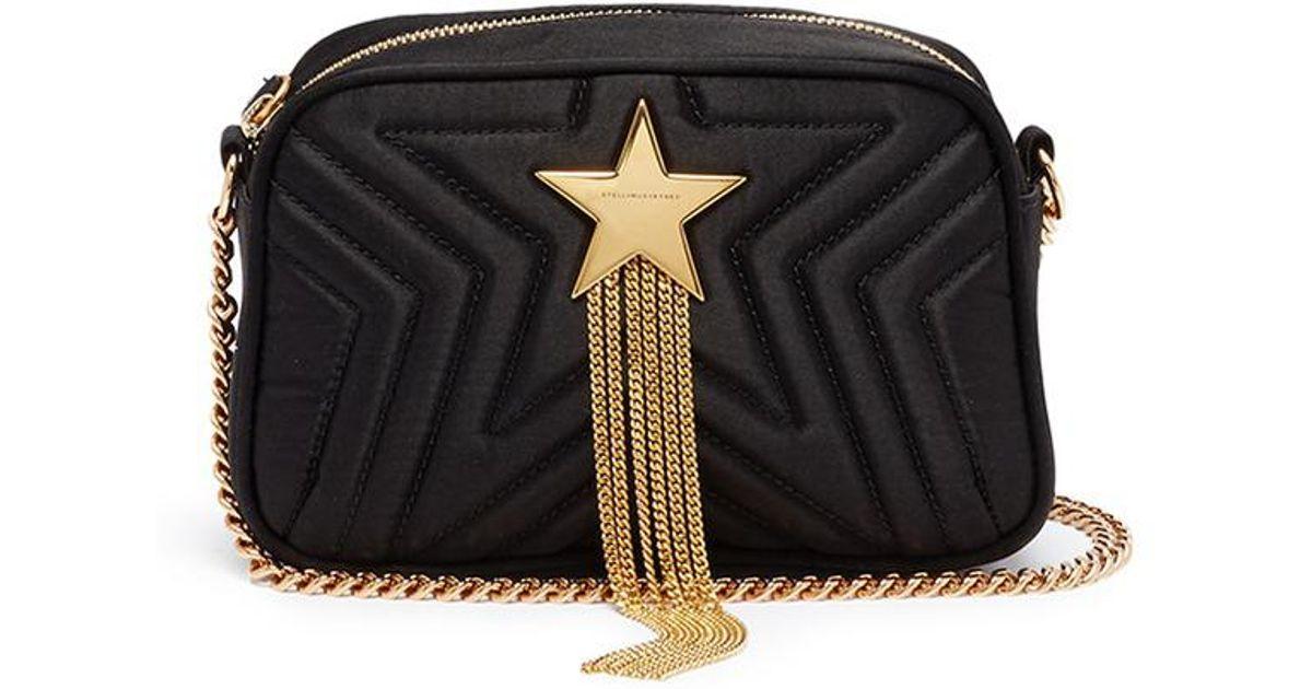 33672fa9706c Lyst - Stella McCartney  stella Star  Chain Tassel Mini Quilted Satin  Shoulder Bag in Black