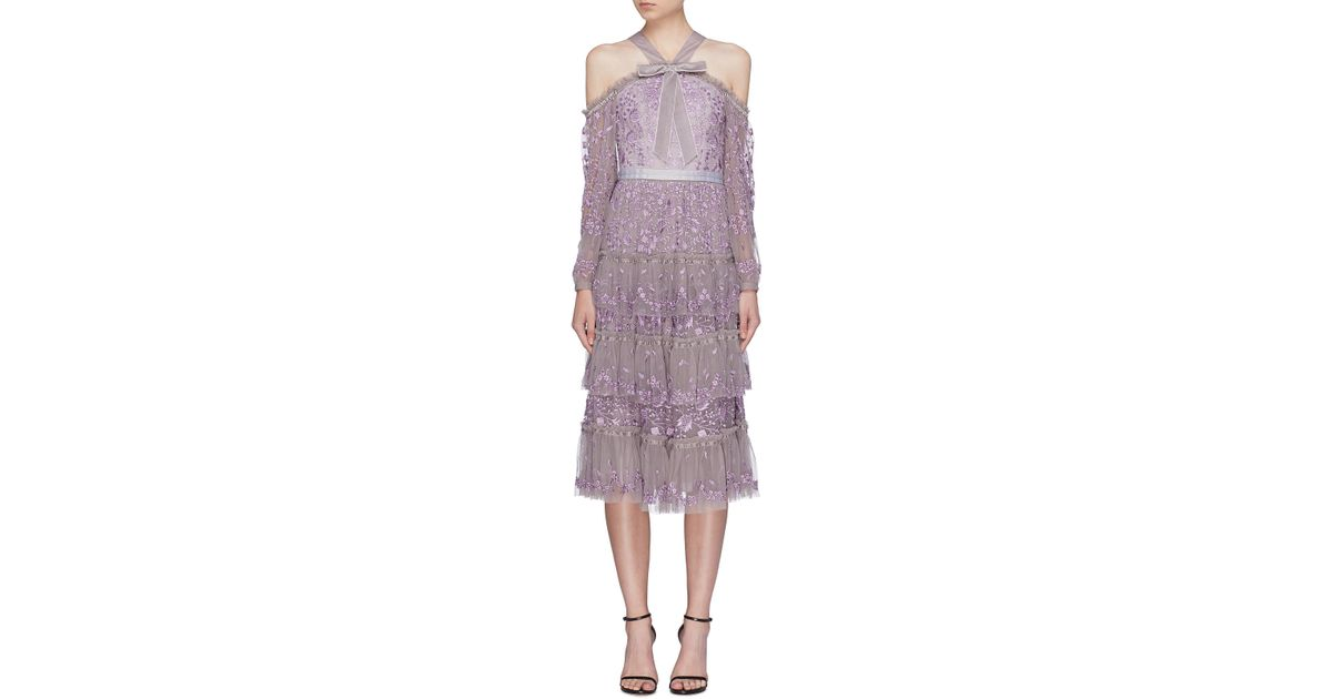 2995bb55c89 Needle   Thread Woman Cold-shoulder Velvet-trimmed Embroidered Tulle Midi  Dress Lavender in Purple - Save 3% - Lyst