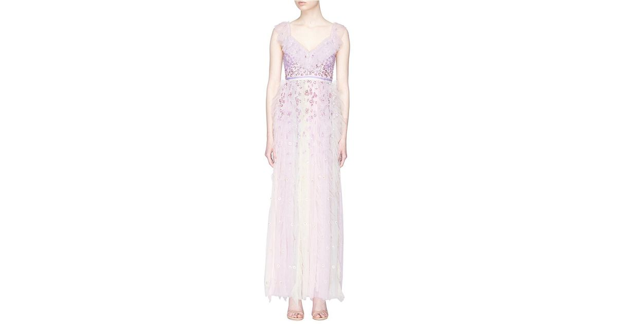 c04e638d479a Needle & Thread 'rainbow' Floral Embellished Ruffle Tulle Gown in Pink -  Lyst
