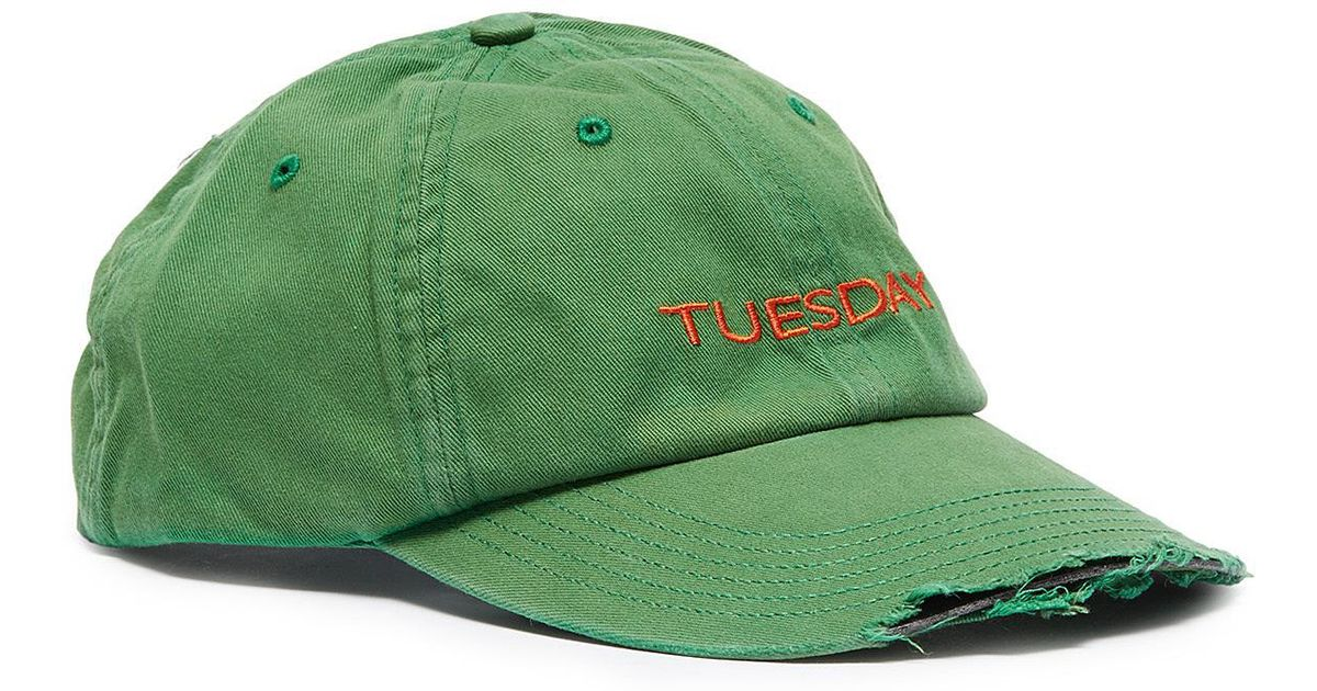 d4e9d18ee0e6cc Vetements X Reebok 'weekday' Slogan Embroidered Distressed Baseball Cap in  Green for Men - Lyst