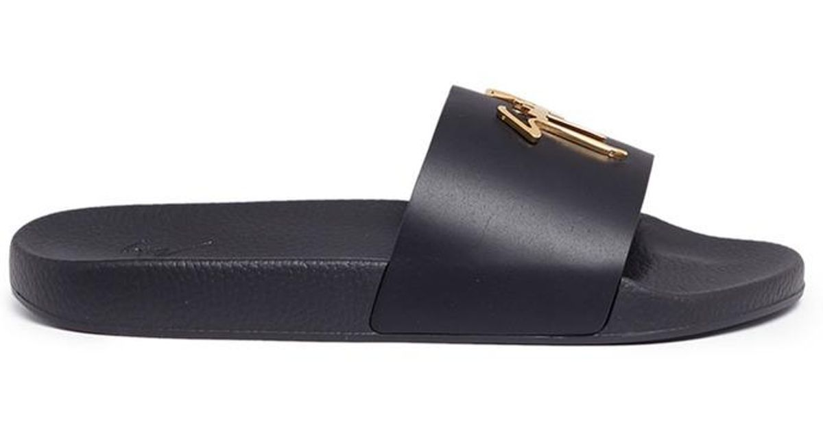 f1f92fd3e Lyst - Giuseppe Zanotti  brett  Calfskin Leather Slide Sandals in Black for  Men