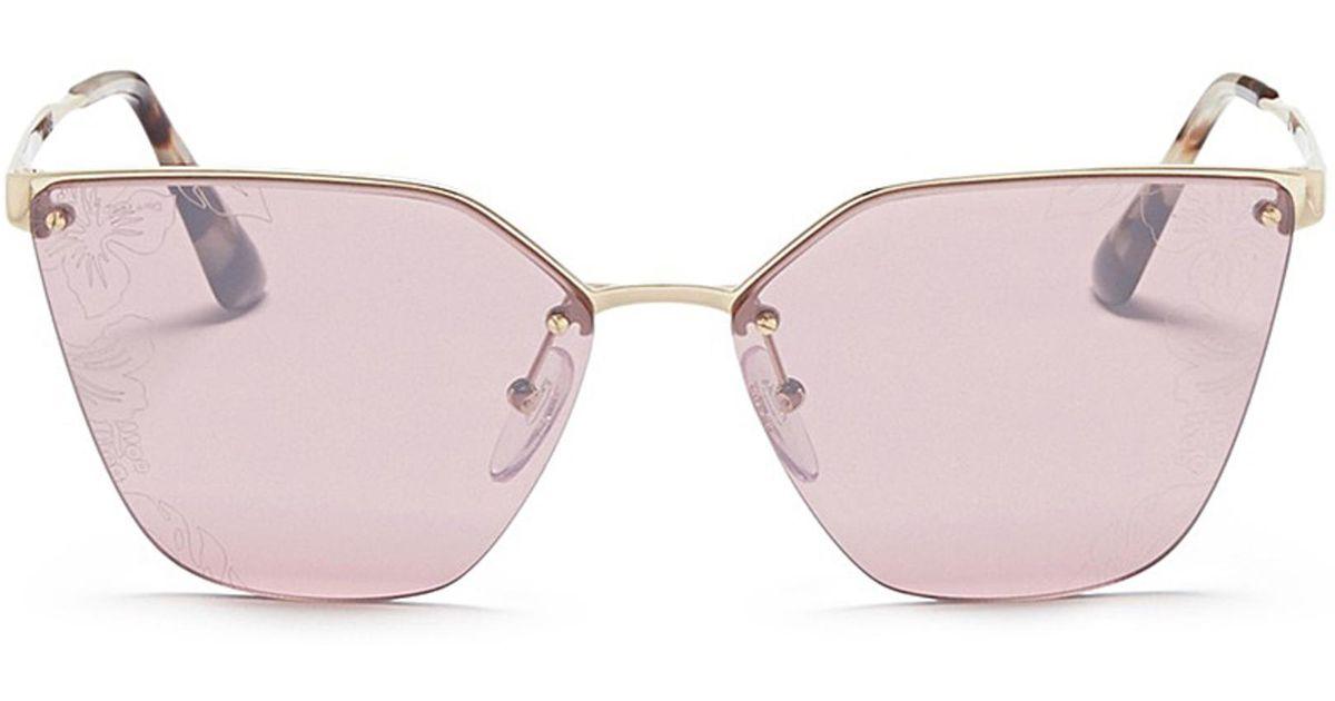 8b6f2dd031e ... sale lyst prada mount floral lens metal angular cat eye sunglasses in  metallic dabe6 427f6 ...