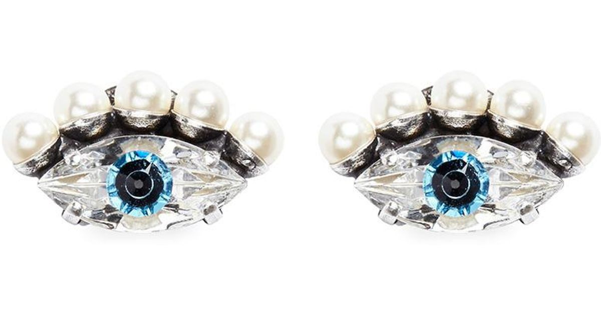 Anton Heunis gold plated Swarovski crystal pearl eye earrings - Blue