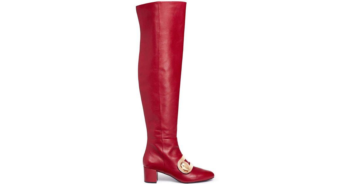 17e9278147dd Lyst - Stella Luna  stella Xxl  Turnlock Buckle Leather Thigh High Boots in  Red