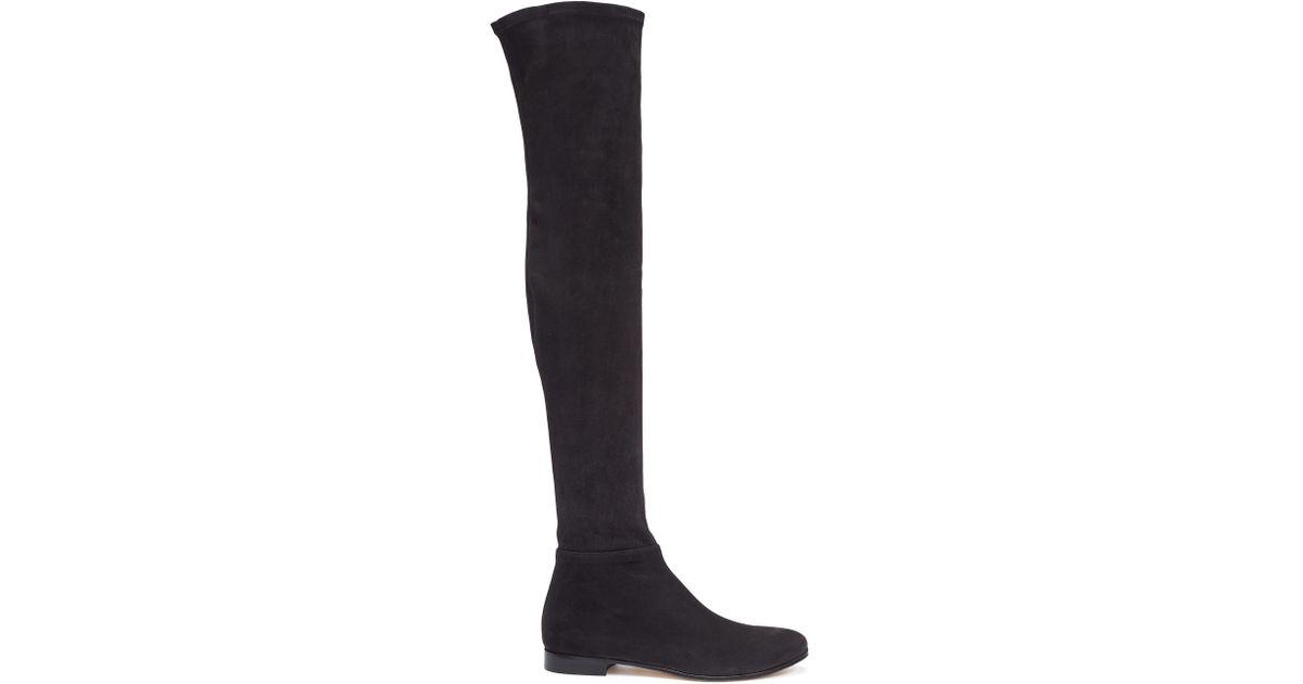 fdf5f36f823 Lyst - Jimmy Choo  myren Flat  Stretch Suede Thigh High Boots in Black