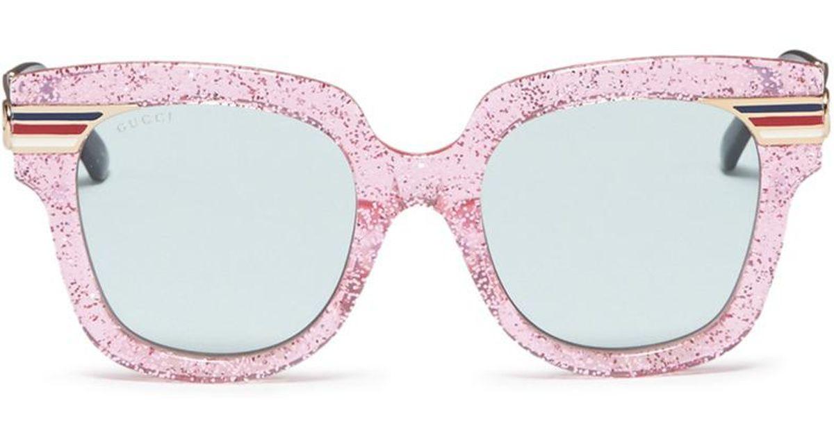 f5a16aa63b1bf Gucci Web Stripe Temple Glitter Acetate Square Sunglasses - Lyst
