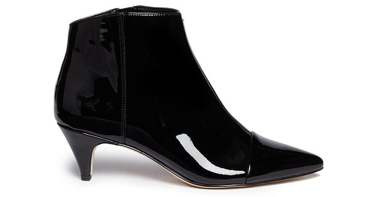d1718852ce2852 Sam Edelman  kinzey  Patent Leather Ankle Boots in Black - Lyst