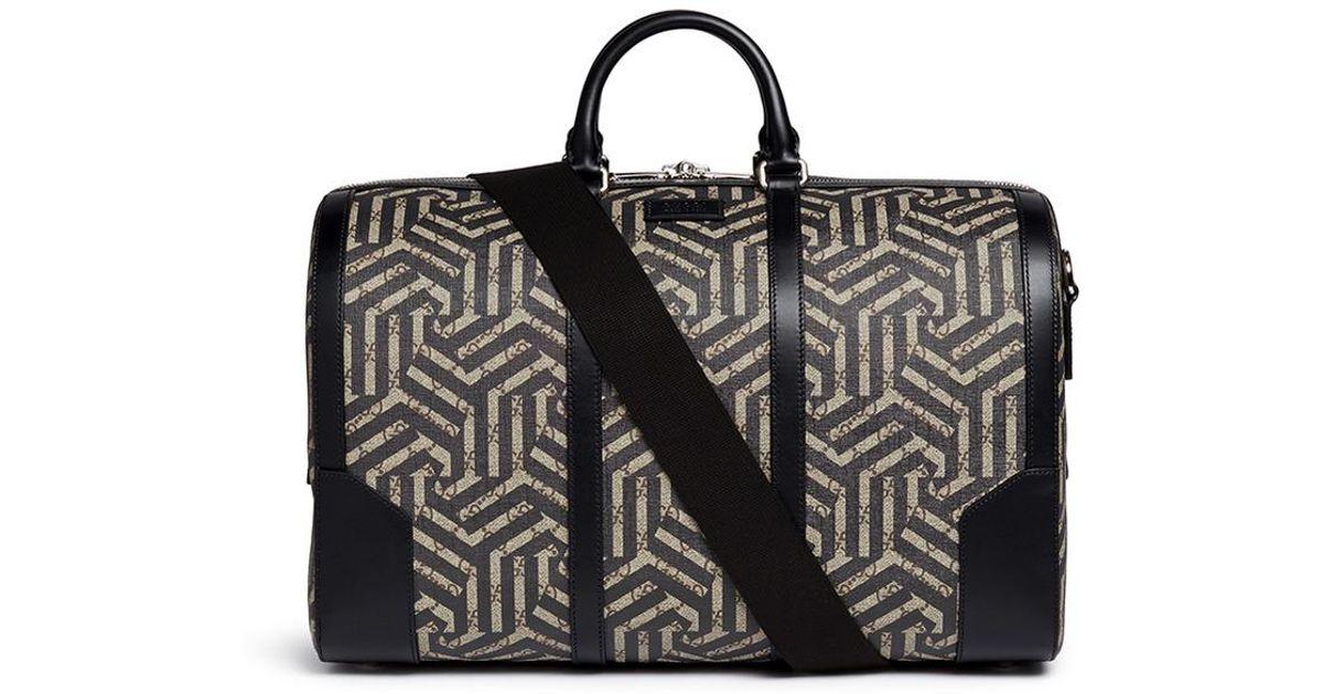 1481a9a33676 Gucci 'gg Caleido' Print Canvas Duffle Bag in Black - Lyst