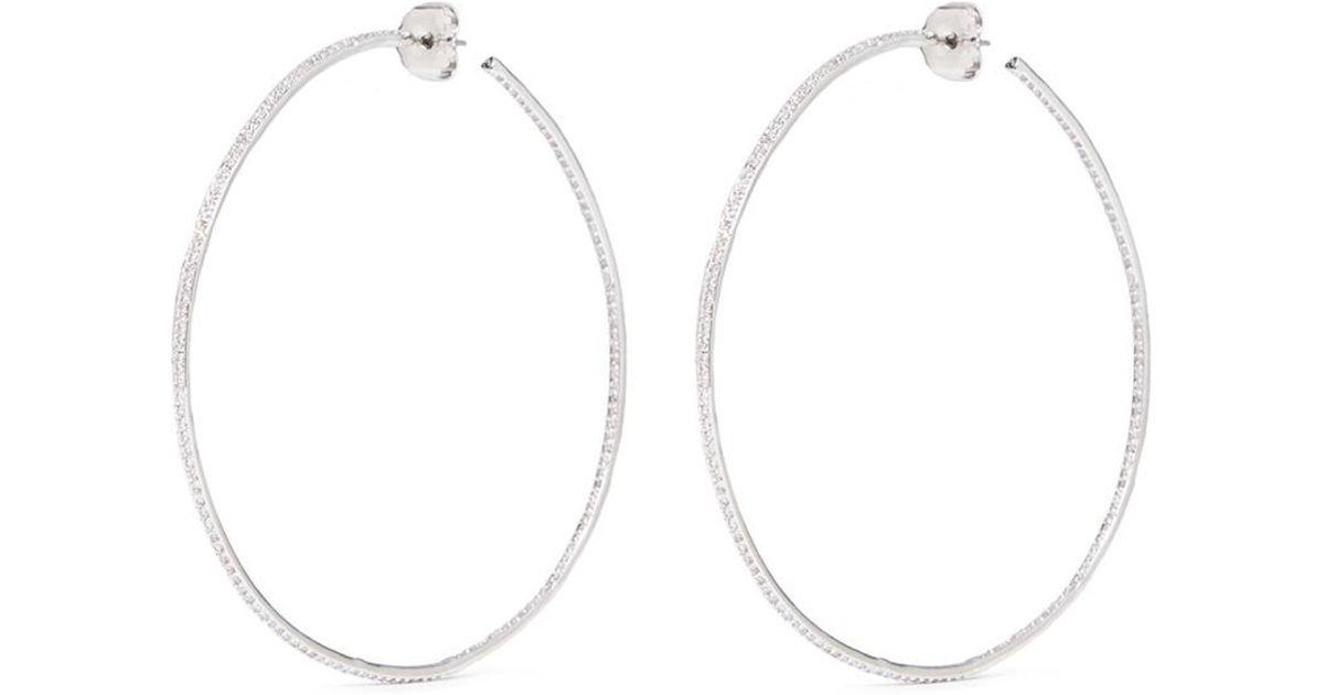 Cz By Kenneth Jay Lane Inside Out Cubic Zirconia Skinny Hoop Earrings In White Lyst