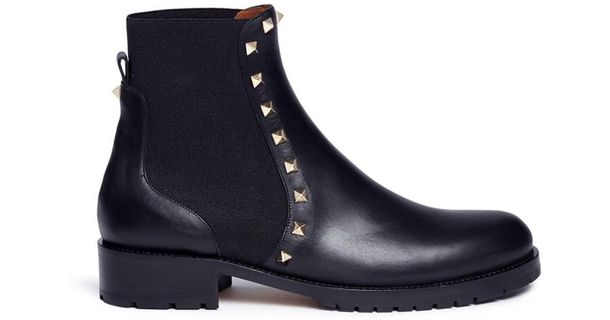 5c1277d5f8af Lyst - Valentino  rockstud  Leather Chelsea Boots in Black
