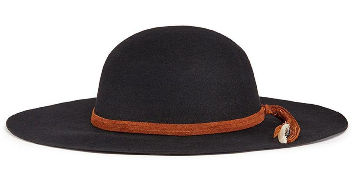 fd7a26b70d802 Lyst - Sensi Studio  lauren  Braided Feather Suede Band Wool Felt Hat in  Black