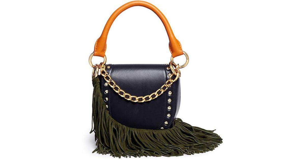 591b44d17b Lyst - Sacai  horse Shoe  Fringe Strap Leather Mini Saddle Bag in Blue