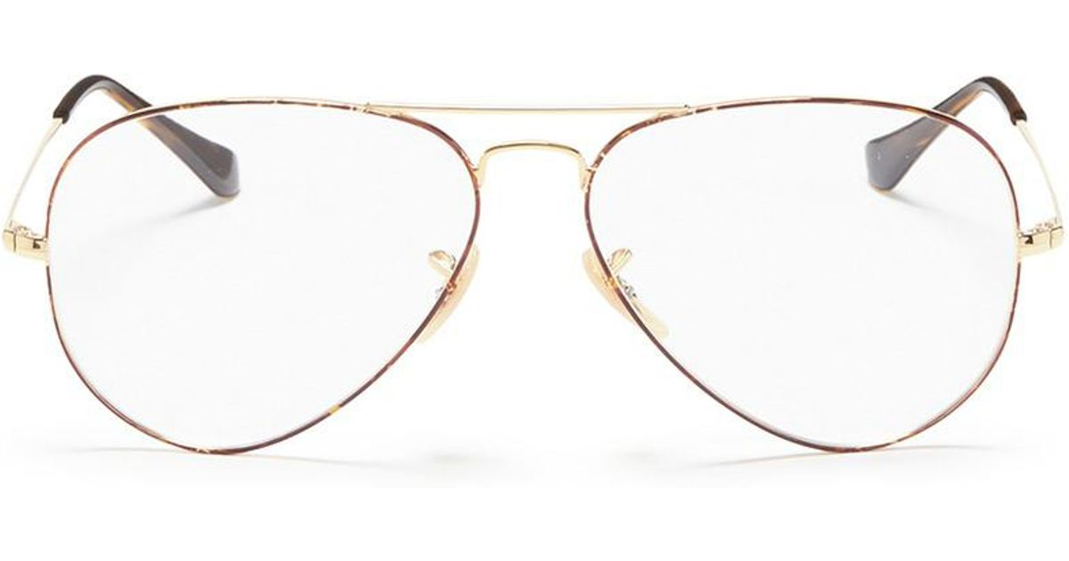 4a49a3b638 Lyst - Ray-Ban  rx6489  Metal Aviator Optical Glasses in Metallic for Men